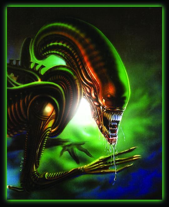 Alien. Ilustracion de aerografia de Carlos Diez. Ilustrador de  aerografo de Madrid. Estudio C10.