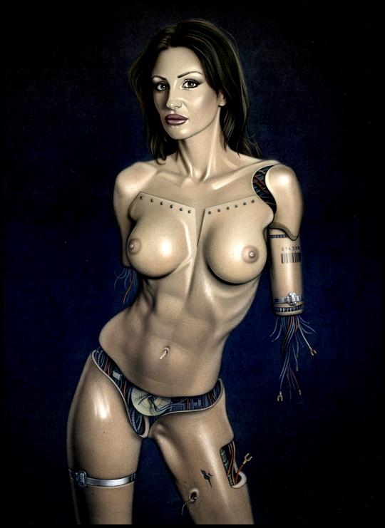 Gizane Sastre,  preciosa ciborg terminatrix de Carlos Diez. Ilustrador de aerografia fotografo de Madrid. Estudio C10.