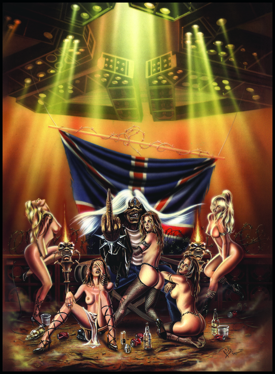 Iron Maiden tributo en ilustracion de aerografia por Carlos Diez. Estudio C10. Madrid.