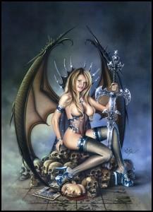 Isabella, guerrera plateada en ilustracion de aerografo aerografia. Acrilicos en carton. Por Carlos Diez. Estudio C10. Madrid.