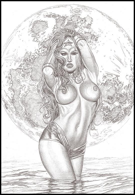 Wonder Woman muy sexy en  ilustracion de aerografia por Carlos Diez.Academia C10. Madrid.
