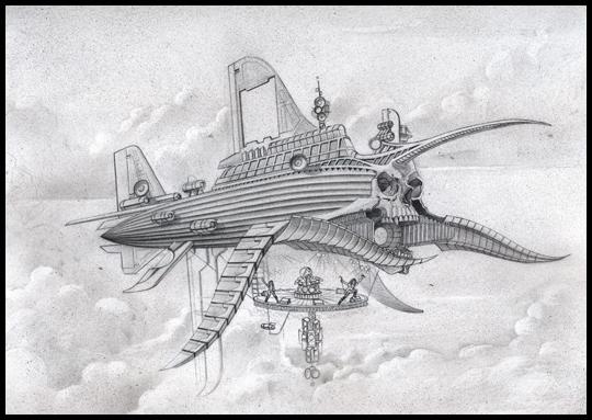 Led Zeppelin boceto del tributo en ilustracion de aerografia realizado por Carlos Diez. Estudio C10. Madrid.