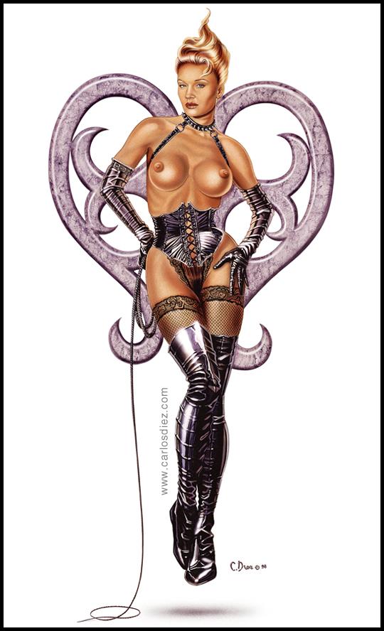 Marlene Mourreau retratada en estilo Pin Up por Carlos Diez en una ilustracion de aerografia. Estudio C10.