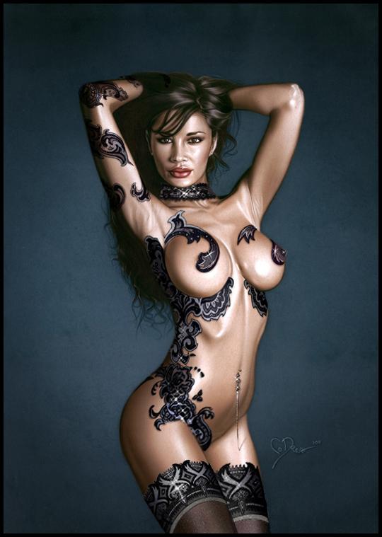 Monica Romero en ilustracion al aerografo. Tatoos o tatuajes en aerografia en curvas de mujer. Estudio C10.