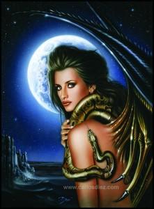 Penelope Cruz, modelo pin up de fantasia con serpiente de carlos diez. Aerografia en Madrid. Estudio C10.
