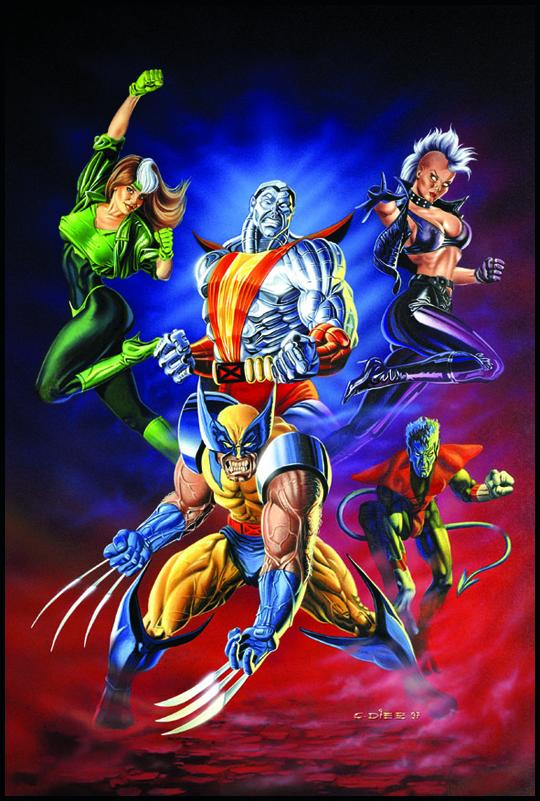 X-men, la patrulla x, los mutantes super heroes en una ilustracion de aerografia de Carlos Diez. Estudio C10. Madrid.
