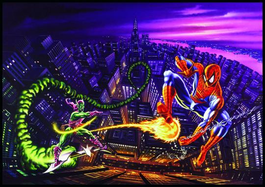 Spiderman. Mutantes y super heroes. Ilustracion de aerografia de Carlos Diez. Estudio C10. Madrid.