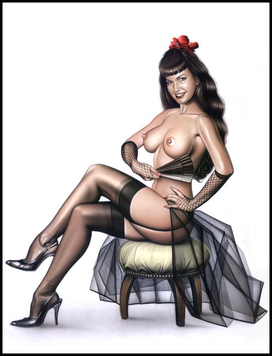 Betty Page muy sexy en portada de ilustracion de aerografia  pin up por Carlos Diez. Estudio C10. Madrid.