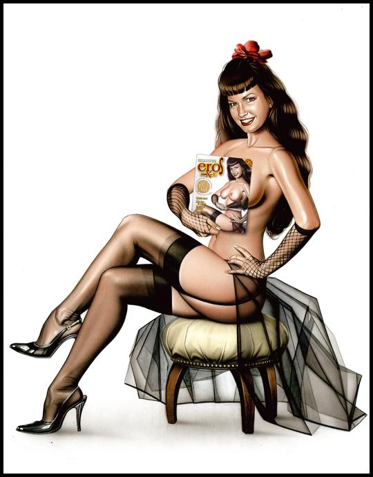 Betty Page muy sexy en ilustracion de portada de aerografia  pin up por Carlos Diez. Estudio C10. Madrid.
