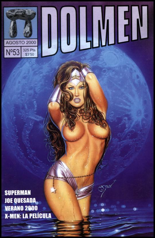 Portada para Dolmen. Wonder Woman. Aerografia, ilustracion, pin up. Por  Carlos Diez. Academia C10. Madrid.