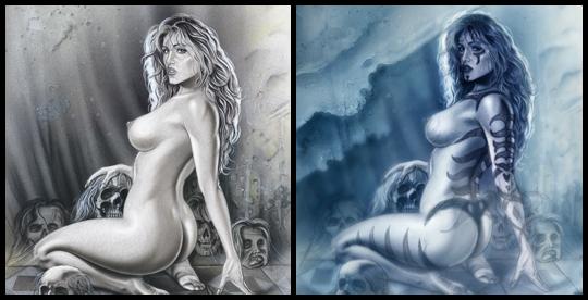 Eva seductora,  enjaulada, sexy.Ilustración de aerografia erotica pin up. Por Carlos Diez.
