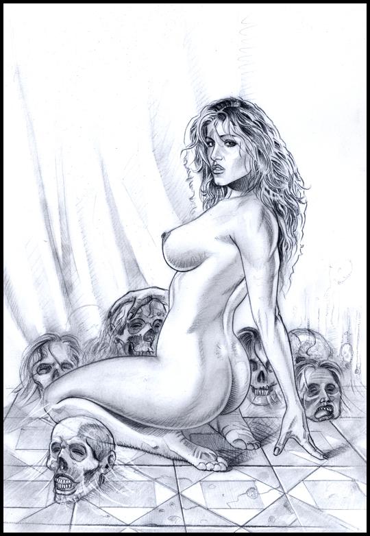 Eva seductora,  enjaulada, sexy.Ilustración de aerografia erotica pin up. Por Carlos Diez. EstudioC10.