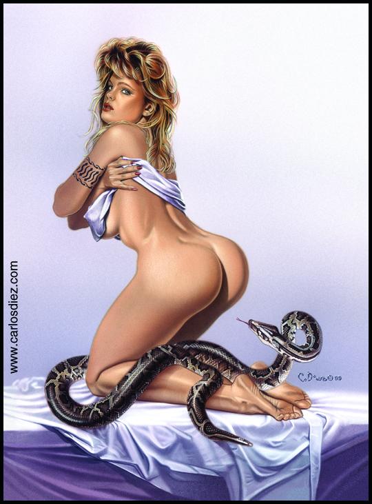 Ilustracion de aerografía de Erika Eleniak muy sexy por Carlos Diez