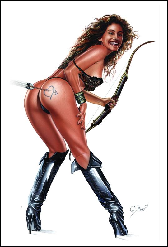 Julia Roberts. Un sex symbol erótico en ilustracion de aerografia pin up por Carlos Diez. Estudio C10.