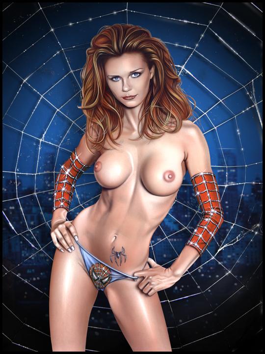 Kirsten Dunst en sexy iluatración de aerografia erotica pin up por Carlos Diez. Estudio C10. Madrid.