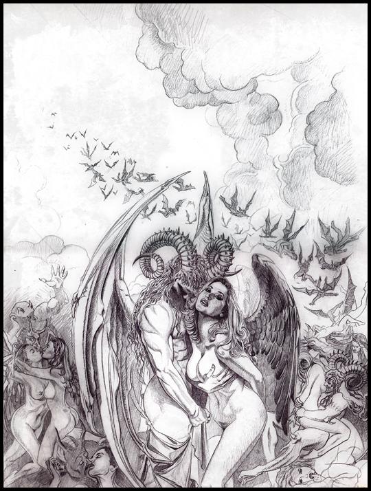 Lujuria. Boceto a lapiz y acuarela aguada. ilustracion de Carlos Diez. Estudio C1o.