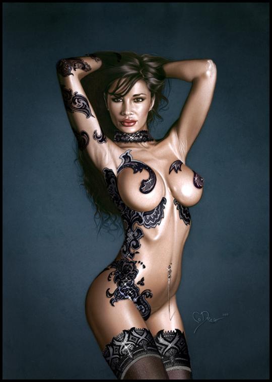 Monica Romero sexy en portada de ilustracion de aerografia  pin up por Carlos Diez. Estudio C10. Madrid.