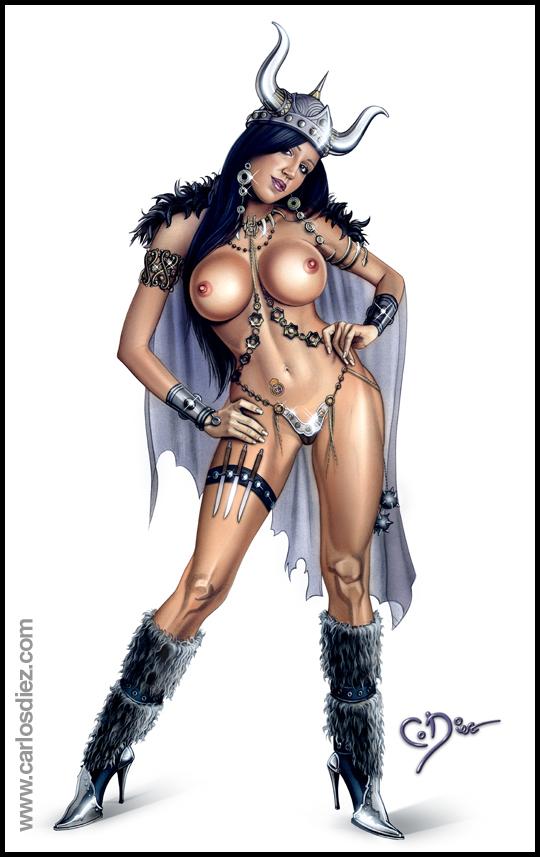 Nuria Bermudez, modelo sexy de ilustracion y aerografia erotica pin up por Carlos Diez. Estudio C10. Madrid.