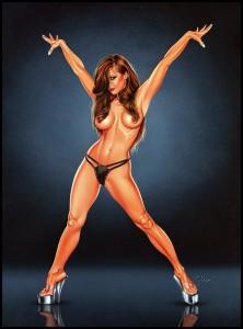 Mariluz Rodriguez muy sexy en ilustracion de aerografia por Carlos Diez.Academia C10. Madrid.