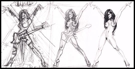 Proceso de trabajo de Mariluz Rodriguez para ilustracion de aerografia pin up por Carlos Diez. Estudio C10.
