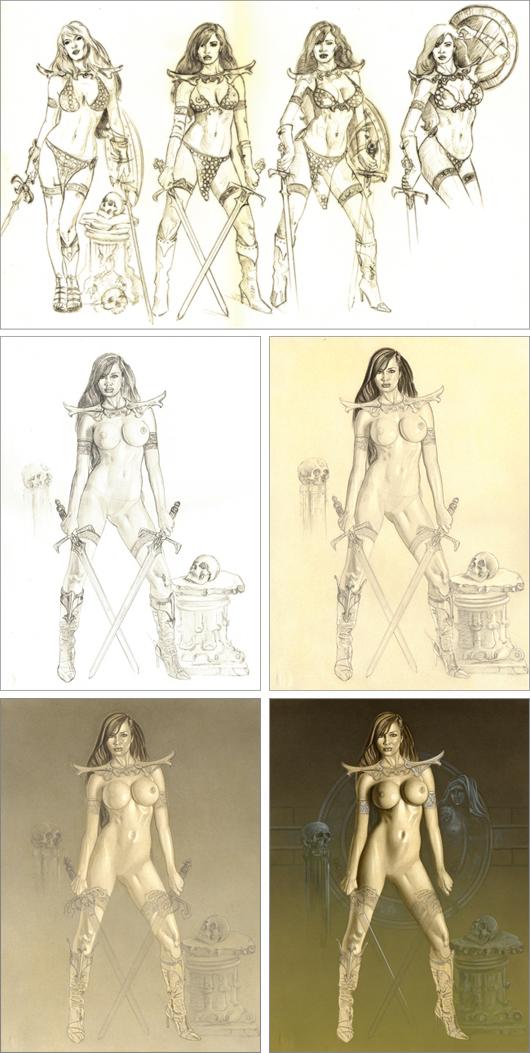 Red Sonja en ilustracion de aerografia po Carlos Diez. Estudio C10. Madrid.