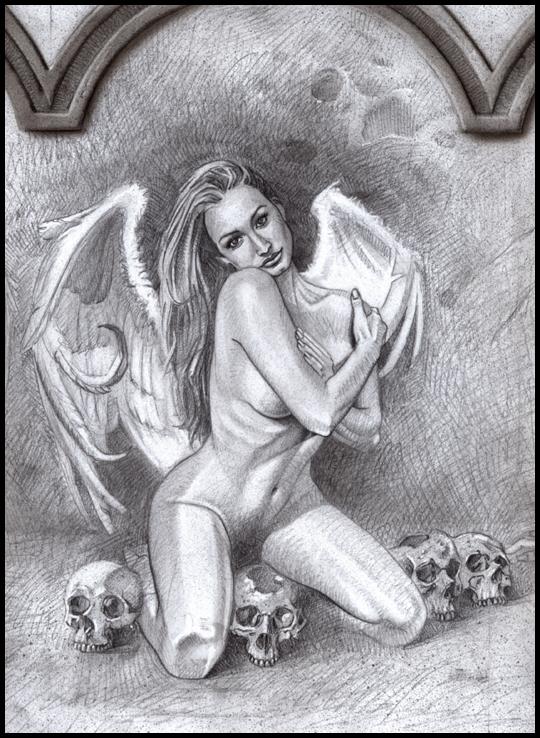Angel enjaulado sexy en iluatración de aerografia erotica pin up. Fantasía. Estudioo C10.
