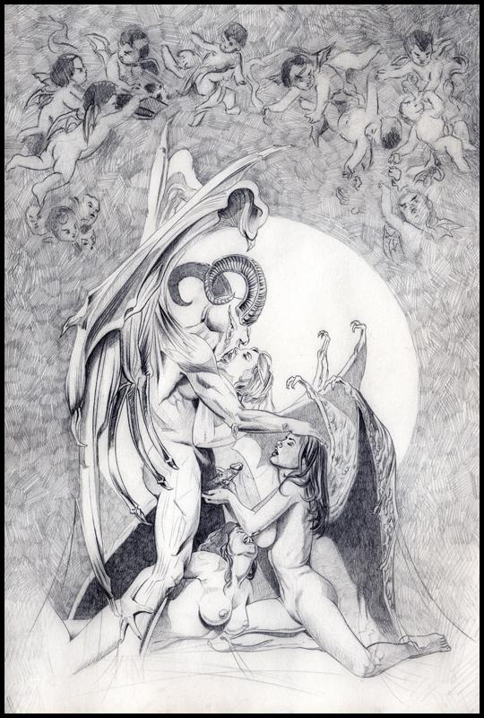 Angel seductor en bacanal. Sexy iluatración de aerografia erotica de fantasía. Estudio C10.
