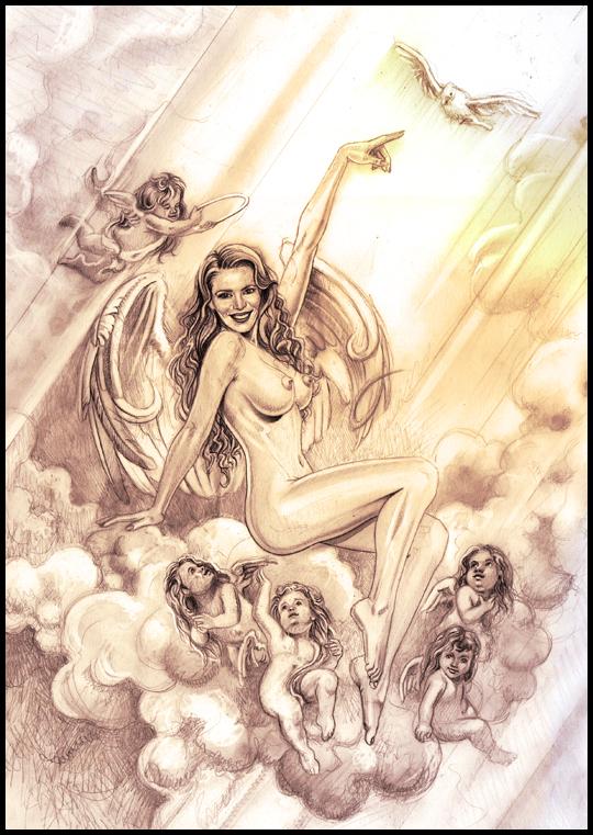 Angel seductor super sexy en iluatración de aerografia erotica pin up. Por Carlos Diez. Estudio C10.