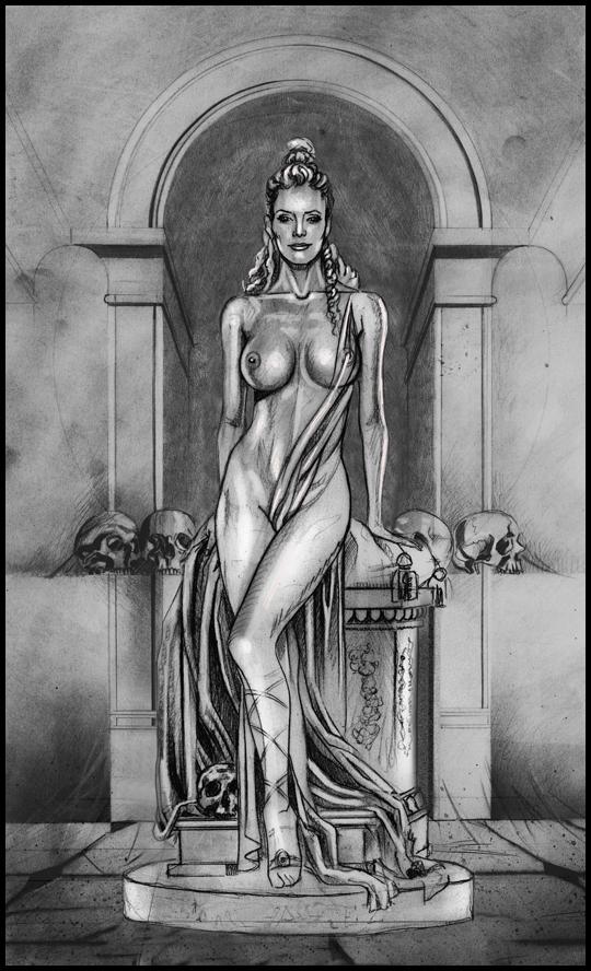 Boceto para Paula, estatua griega en  lapizy tecnicas mixtas por Carlos Díez. Academia c10.