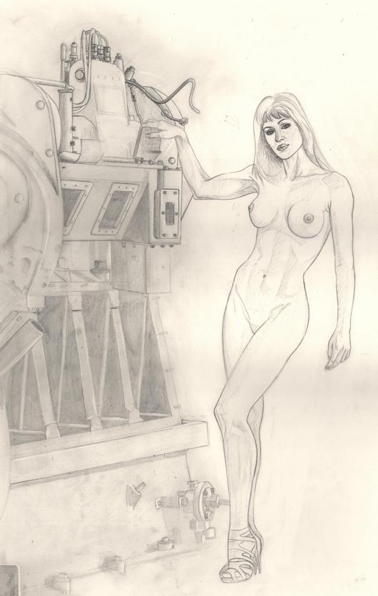 Gizane 2 posa para Carlos Diez para su ilustración en aerografia
