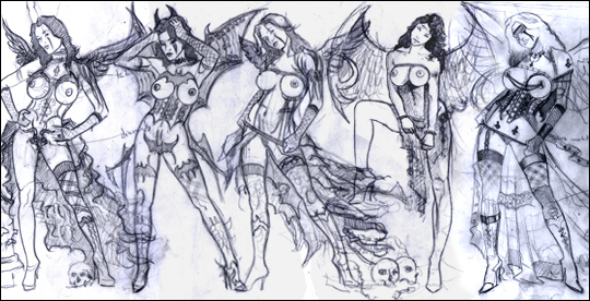 Diana Casado. Bocetos. Sexy ilustración de aerografia erótica pin up. Por Carlos Diez. Madrid.