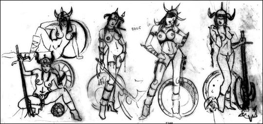 Nuria Bermudez, boceto de trabajo como modelo de ilustracion en aerografia erotica pin up para Carlos Diez.