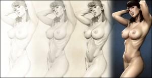 Sandra Galera, modelo pin up de ilustración para Carlos Diez. Ilustrador y fotógrafo.