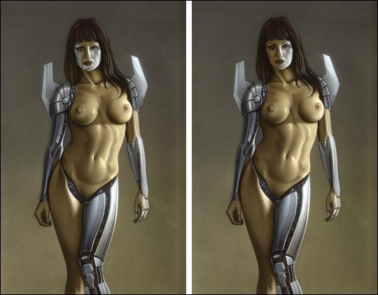 Gizane Sastre. Modelo sexy cyborg en aerografia por el ilustrador Carlos Diez. Aerografo y técnicas mixtas. MAdrid.