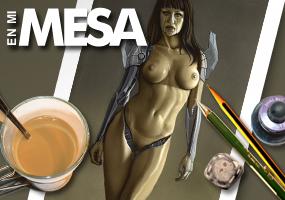 Gizane Sastre, modelo sexy cyborg en aerografia por Carlos Diez. Aerografo.