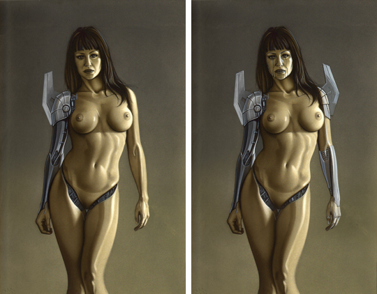 Gizane Sastre, modelo sexy cyborg en aerografia por Carlos Diez. Aerografo. Madrid.