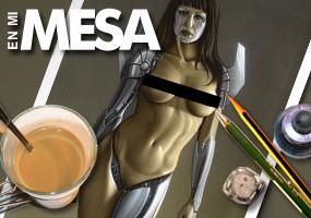 Gizane Sastre. Modelo sexy cyborg en aerografia por el ilustrador Carlos Diez. Aerografo y técnicas mixtas.