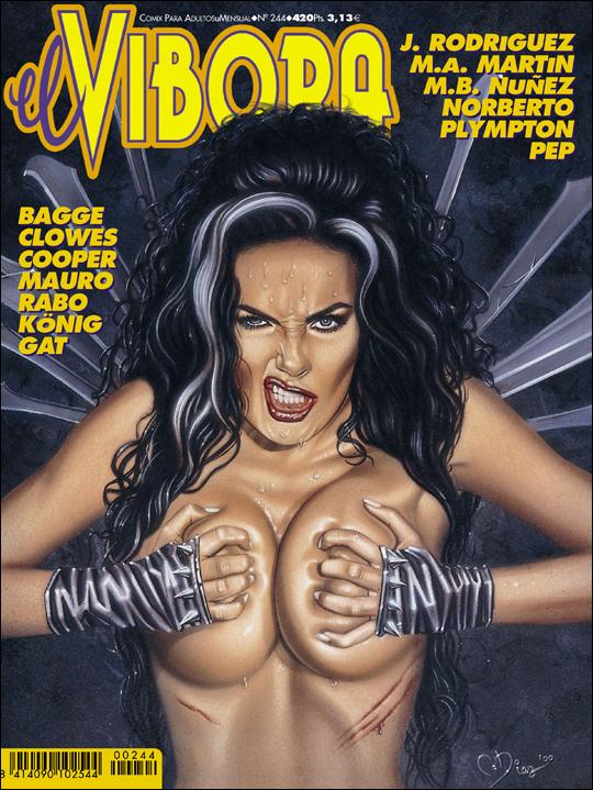 Julie Strain, portada del vivora. Heavy Metal model. Aerografia, ilustracion pin up de Carlos Diez. Cursos. Madrid.