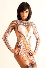 Body painting, aerografia, ilustracion de maquillaje corporal de Carlos Diez. Aerografía.