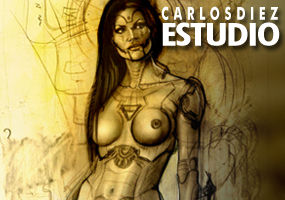 Elena Plaza, modelo pin up para ilustración de aerografia por Carlos Diez. Madrid.