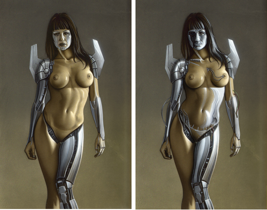 La bella y sensual Gizane Sastre convertida en top cyber sexy model. Ilustracion de aerografia de Carlos Diez.