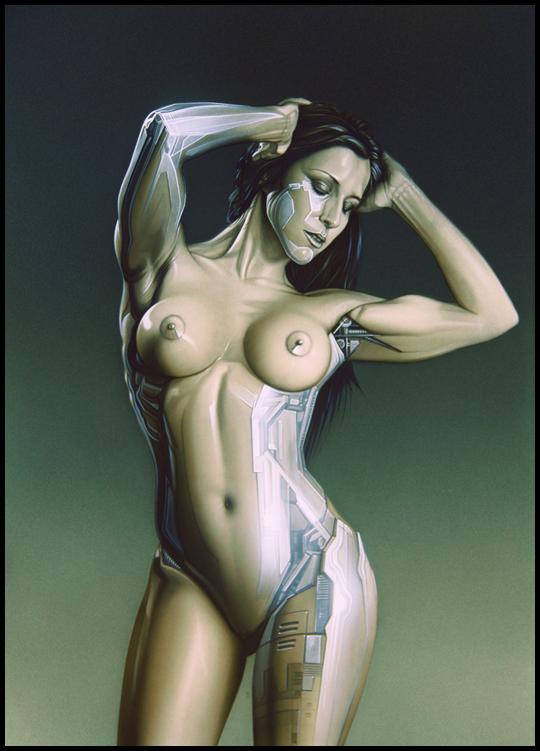 Carla Juaranz. Ginoyde. Ilustracion en aerografia por Carlos Diez. Trabajo con aerografo.