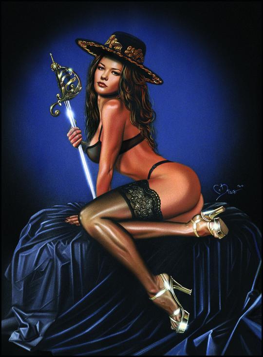 Catherine Zeta Jones. Ilustración de aerografia de Carlos Diez. Pin Up. Aerografo y tecnicas mixtas.