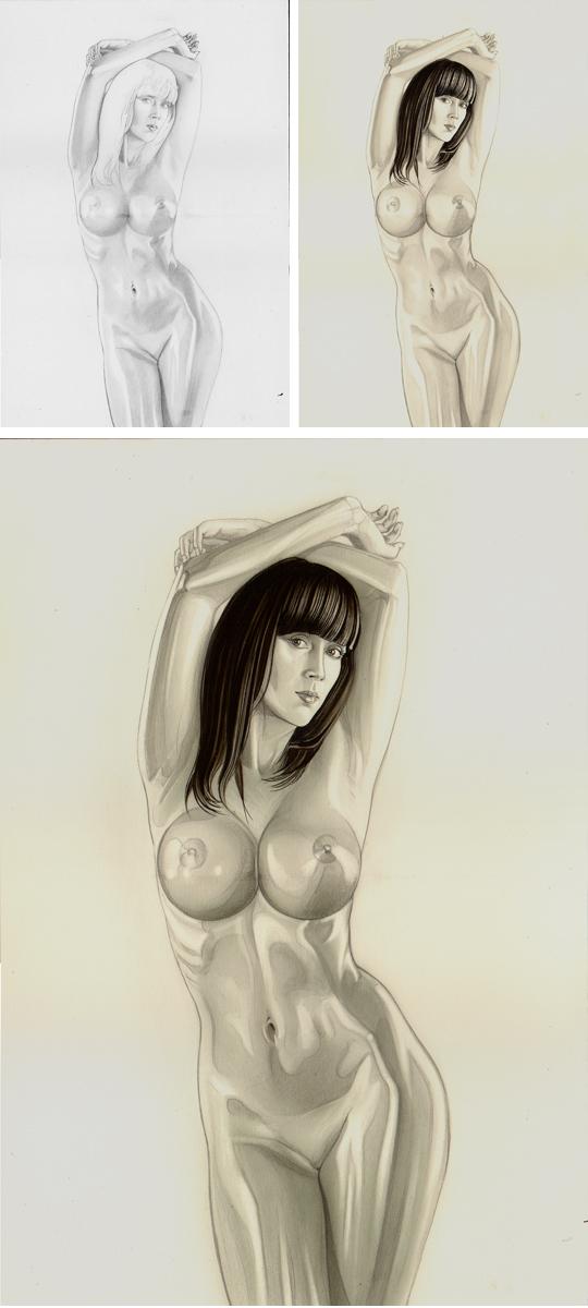 Sandra Galera. Ginoyde. Ilustracion en aerografia por Carlos Diez. Trabajo con aerografo.