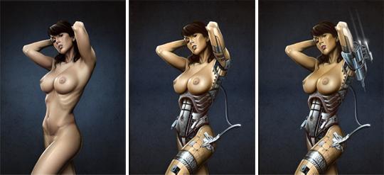 Sandra Galera. Ginoyde. Espectacular aerografia de Carlos Diez.