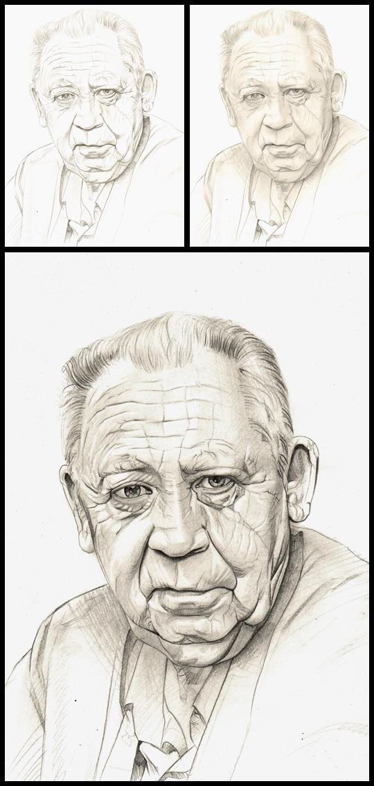Carlos Diez Padre Retrato ilustracion aerografia