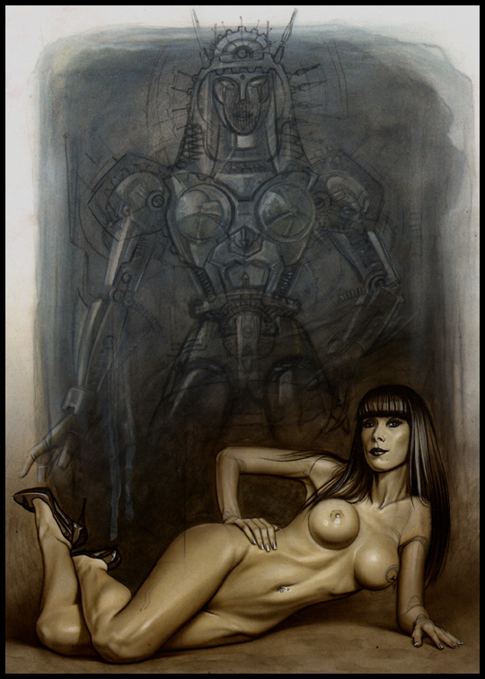 Simone Robot Ilustracion aerografia Carlos Diez