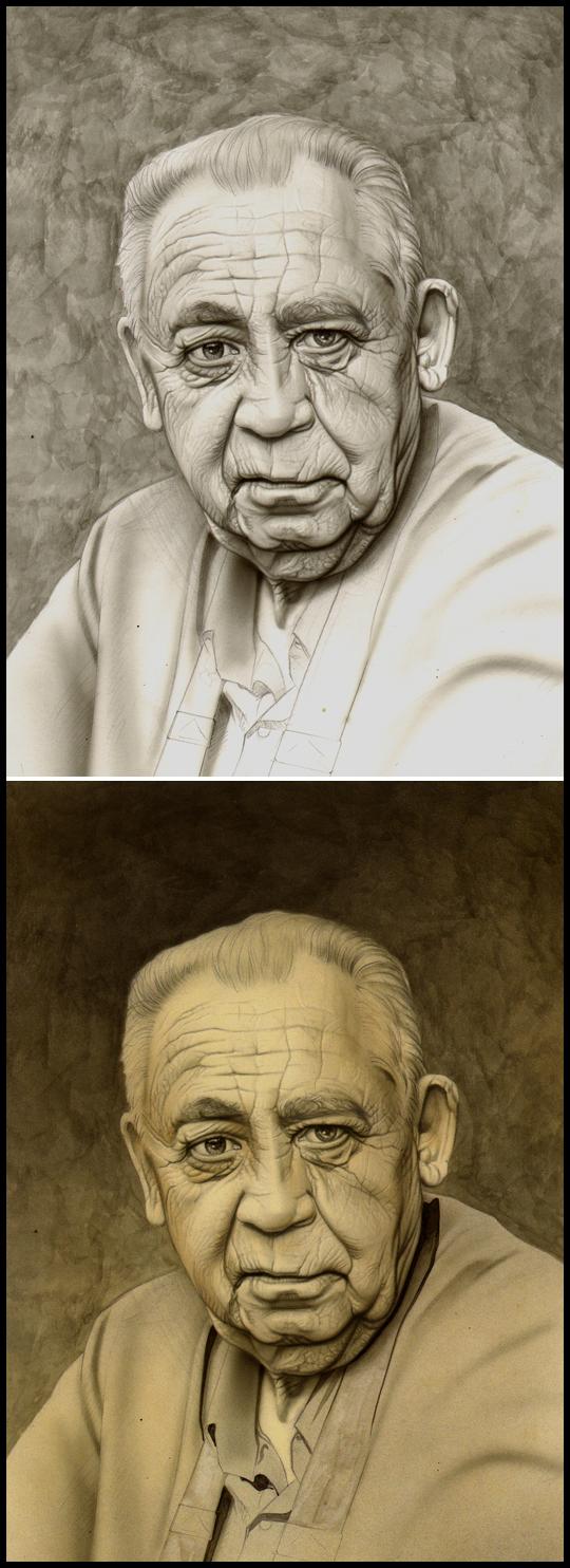 Carlos Diez 5 Padre Retrato ilustracion aerografia