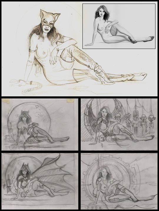 Catwoman-1-ilustracion-aerografia-carlos diez-super-heroes-marvel