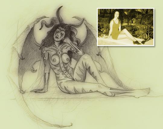 Monica Demon-ilustracion-aerografia-Carlos Diez